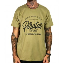 Camiseta Rulez Piratas Del Ghetto Verde Militar