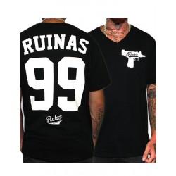 Camiseta Rulez 99 Ruinas Negra Cuello V